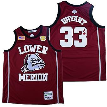 Men's Lower Merion #33 Bryant Basketball Jersey Red Sports T Shirt S-xxl,fashion 90s Hip Hop Clothing For Party, Stitched Letters And Numbers