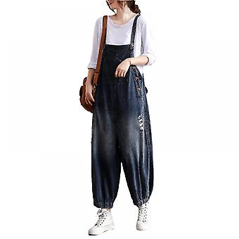 Woman Plus Size Overalls Printed Ripped Jeans