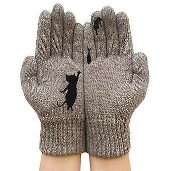 (Kleur:Kaki) Vrouwen Winter Warme Volle Vinger Handschoenen Schattige Kat Dier Gebreide Handschoenen Warme Wanten