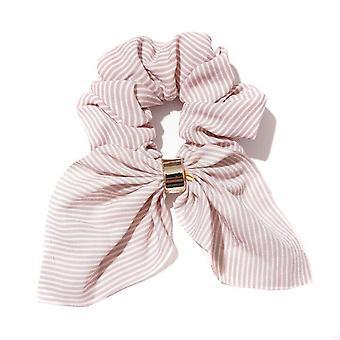 6PCS Corea Cute Rabbit Ear Striped Metal Buckle Capelli Scrunchies Elastic Hair Bands Cravatte Fasce di corda