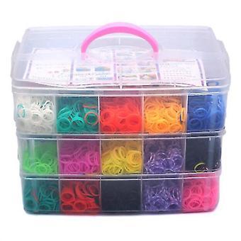 Breinaalden diy regenboog kleur rubberen band armband weven machines breien doos