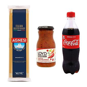 Seven Trees Farm Kit met 3 producten | 1 x Coca Cola, 1 x Tomaat en Rode Peper Saus, 1 x Italiaanse Spaghetti, Geniet van een portie heerlijke pasta en koel af met een cola!