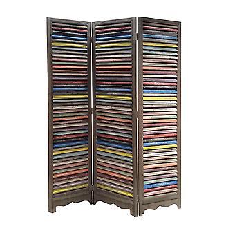 "1"" x 48"" x 71"" Multi Colored Wood Shutter  Screen"