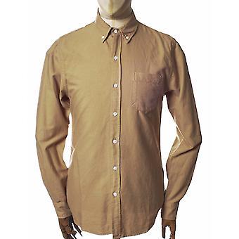 Färgglad standard organisk knapp ner skjorta - Desert Khaki
