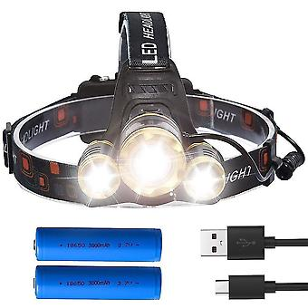 Qian Zoomable Headlamp 3000lm Head Torch Led Head Light Rechargeable Camping Flashlight