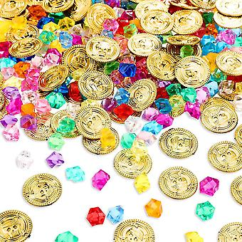 Pirate Gold Coins Gem Jewelry Treasure Toy Activity Party Decor 200pcs