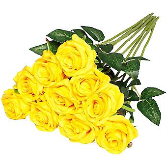 פרחי ורד משי מלאכותיים גזע יחיד מזויף רוז עבור פרח זר חתונה, 10pcs (כחול)