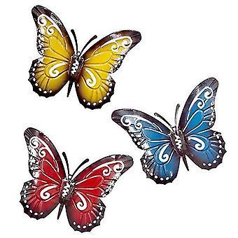 3 Stück Metall Schmetterling Eine Gruppe von bunten süßen Insekten, zum Aufhängen Wand Kunst Garten Rasen Dekor Indoor Outdoor Wandskulpturen 3 Farben