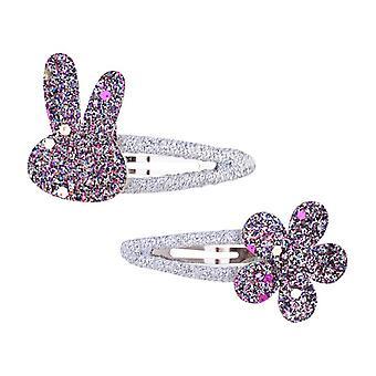 2 stk / parti Nye piger Cute Rabbit Flower Hair Clips Sweet Bb Glitter Hairpins Barrettes Headwear Fashion Hair Tilbehør til børn
