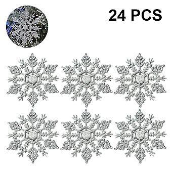 Plástico Navidad Glitter Adornos de copo de nieve Decoraciones, 24pcs, blanco