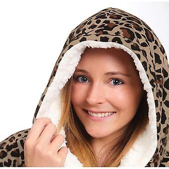 Supradimensionate Lazy Print Cald Hoodie Fleece Pullover cu buzunar pentru adulți
