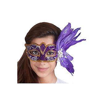 Máscaras Máscara de Venecia Deluxe con perlas y plumas