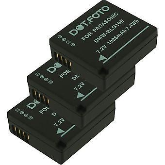 3 x Dot.Foto Panasonic DMW-BLE9, DMW-BLE9E, DMW-BLG10, DMW-BLG10E erstatningsbatteriet