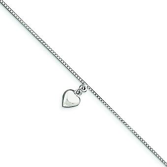 925 Sterling Silver Polido 3D Puffed Love Heart Anklet 10 Inch Spring Ring Jewely Gifts for Women