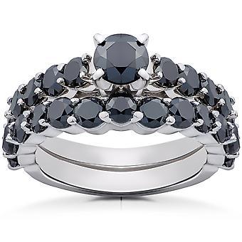 2 ct Black Diamond Engagement & Wedding Ring Set 14K White Gold