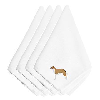 Borzoi Russian Greyhound Embroidered Napkins Set of 4