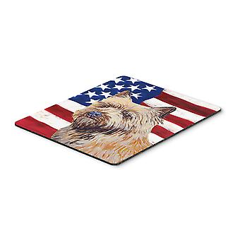 USA American Flag with Cairn Terrier Mouse Pad, Hot Pad or Trivet