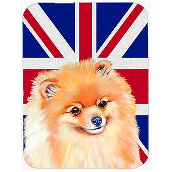 Pomeranian with English Union Jack British Flag Glass Cutting Board Large Size