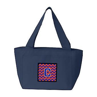 Carolines schatten CJ1044-CNA-8808 Letter C Chevron oranje en blauw Lunch tas