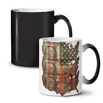 Benjamin Dollar Flag USA NEW Black Colour Changing Tea Coffee Ceramic Mug 11 oz | Wellcoda