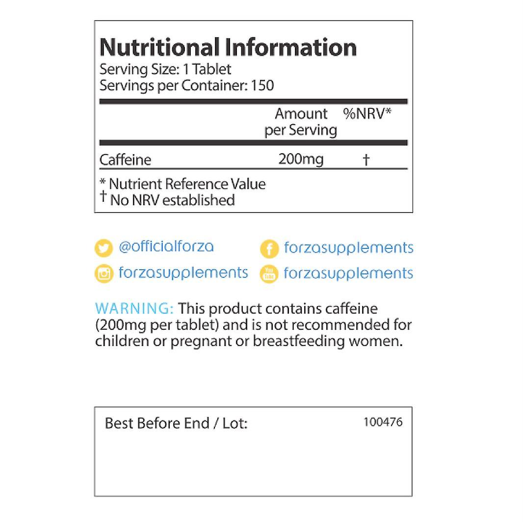 FORZA Caffeine Tablets 200mg - 150 Tablets