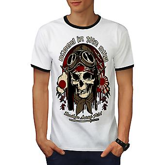 Japan Monster Pilot män vit / BlackRinger T-shirt | Wellcoda