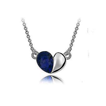 Tumma sininen rakkaus sydän Crystal hopea korut riipus kaulakoru BG1410