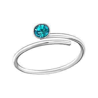 Pyöreä - Crystal + 925 Sterling hopea varvas renkaat - W33422x