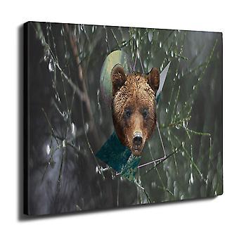 Bear peto Moon eläinten seinän taide kankaalle 40 cm x 30 cm | Wellcoda