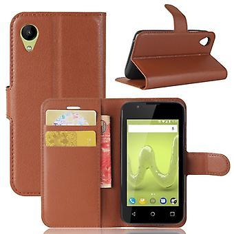 Tasche Wallet Premium Braun für Wiko Sunny 2 Schutz Hülle Case Cover Etui Neu