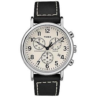 Timex Mens Weekender Chronograaf zwart lederen riem TW2R42800D7PF horloge