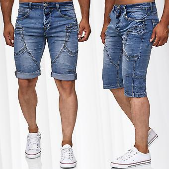 Men's Bermuda Jeans Capri Shorts Cotton Pants Summer Trousers Vintage Cotton Mix