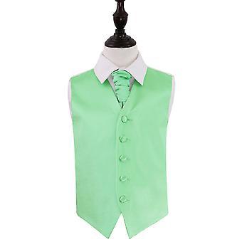 Mint Green Plain Satin Wedding Waistcoat & Cravat Set for Boys