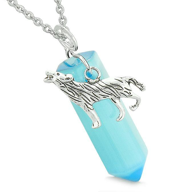 Courage Howling Wolf Magic Amulet Lucky Crystal Point Blue Simulated Cats Eye Pendant Necklace