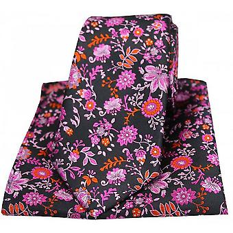 Posh and Dandy Floral Luxury Tie and Pocket Square Set - Black/Pink/Lilac