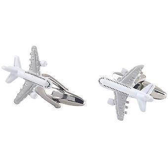 David Van Hagen samolotu spinki do mankietów - srebrny/biały