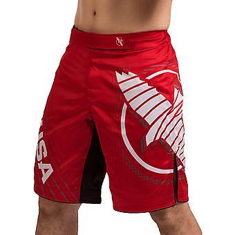 哈亚布萨奇卡拉 4 膝盖长度 MMA 战斗短裤 - 红色