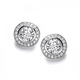 Cavendish Francés CZ Surround Sterling Solitario Pendientes Plata