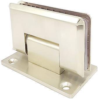 90 Degree Shower Hinge Wall to Glass Door Bracket | Light Satin Nickel Finish | Double Sided