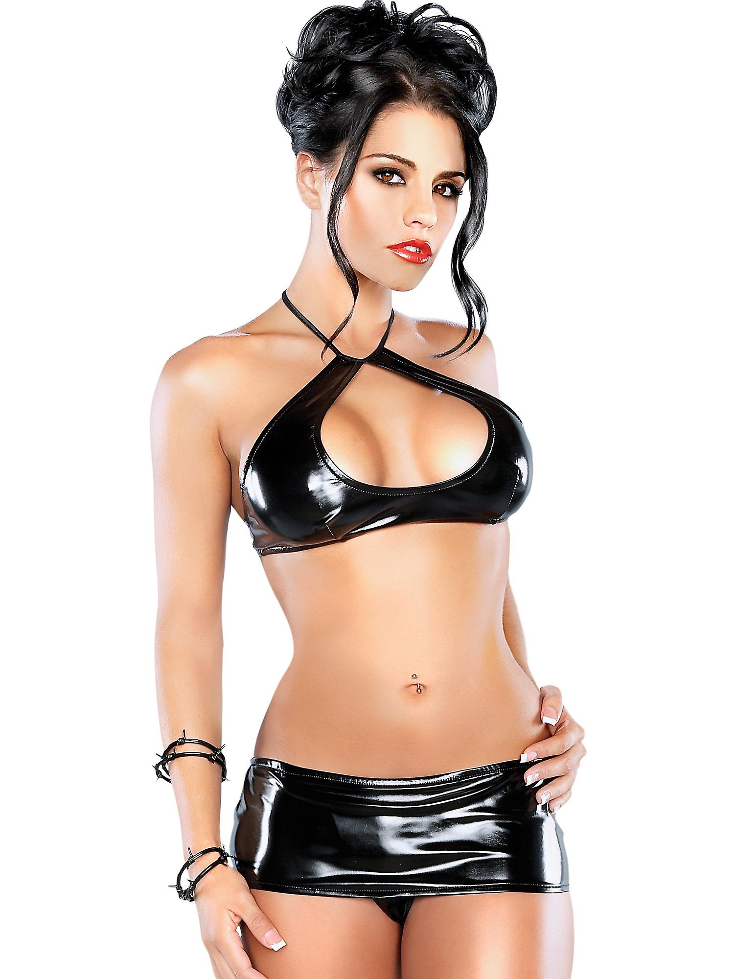 Exposed Women's Plunge Halter Top Keyhole & Mini Skirt Set in Synthetic Black