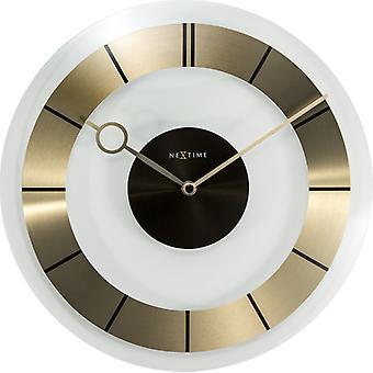 NEXTIME NE-2790GO Wand Uhr ø 31 Cm, Glas, Gold,