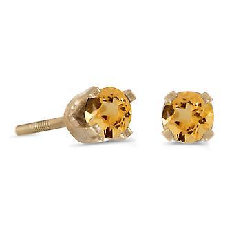 LXR 3mm Petite Round Citrine Screw Cap Plug Earrings in 14k Yellow Gold 0.16ct