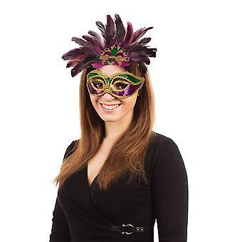 Carnaval. Paars/groen/goud + veren op bril Frame