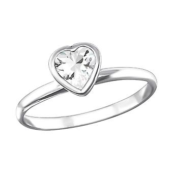 Heart - 925 Sterling Silver Jewelled Rings - W16333x