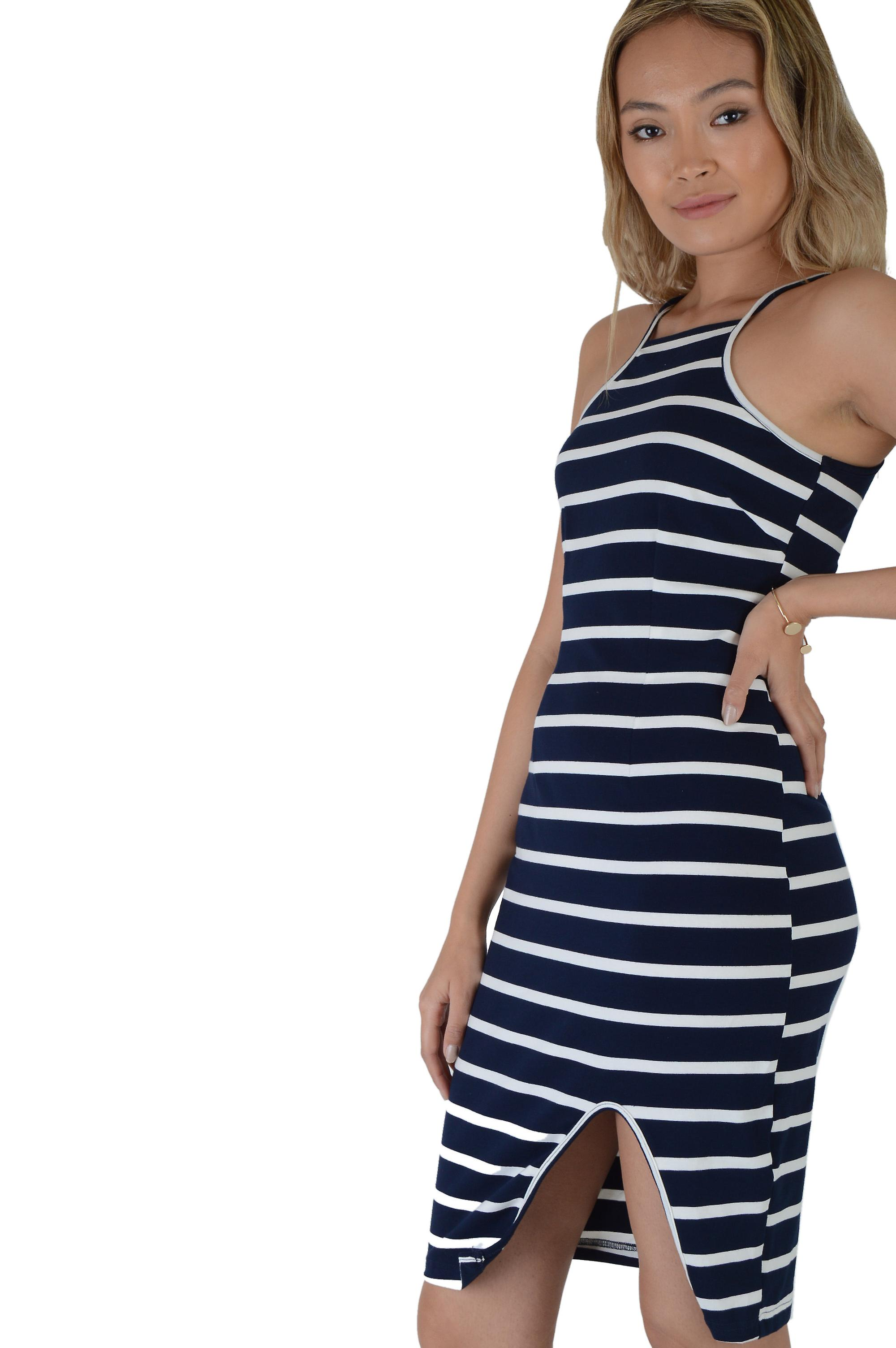 Lovemystyle Navy Blue And White Stripe Midi Dress - SAMPLE