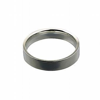 9kt hvidguld 5mm almindelig flad retten formet Wedding Ring størrelse Z