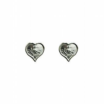 Silver 8x6mm heart St Christopher Stud Earrings