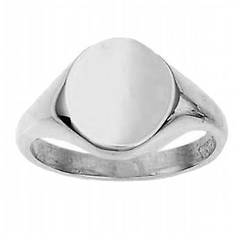 9ct White Gold 14x12mm szilárd sima ovális Signet Ring méret W