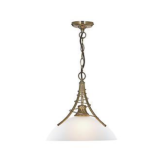 Linea Antique Brass Pendant With Opal Glass Shade - Searchlight 5224AB