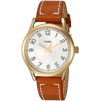 Timex Womens New England Brown/Gold Leather Strap Watch TW2R23000